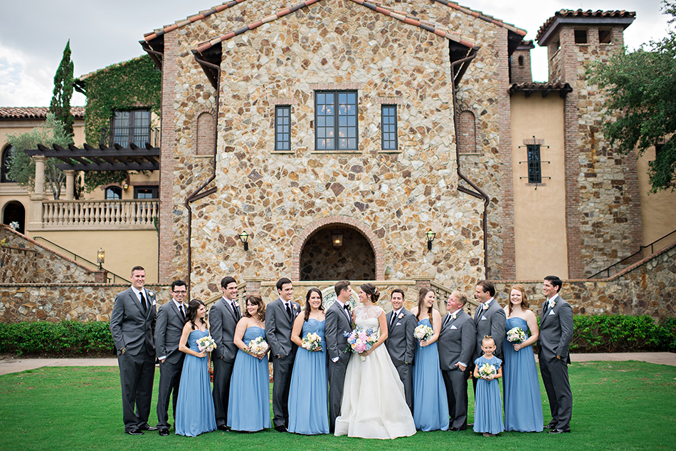 Blue wedding party at Bella Collina. Pastel summer wedding