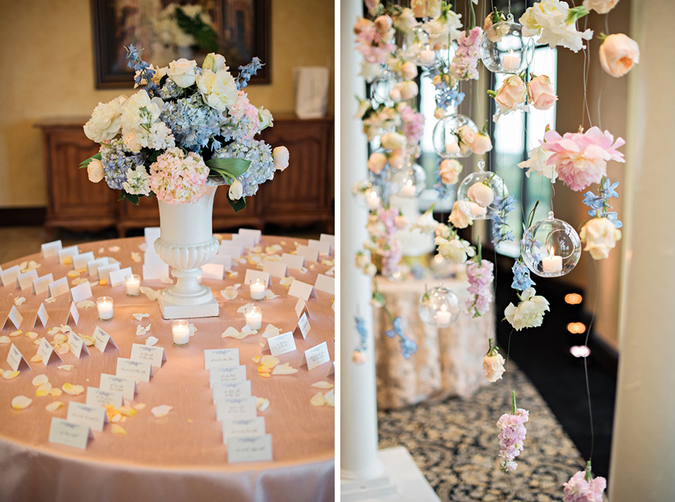 Unique wedding reception decor with pastel flowers