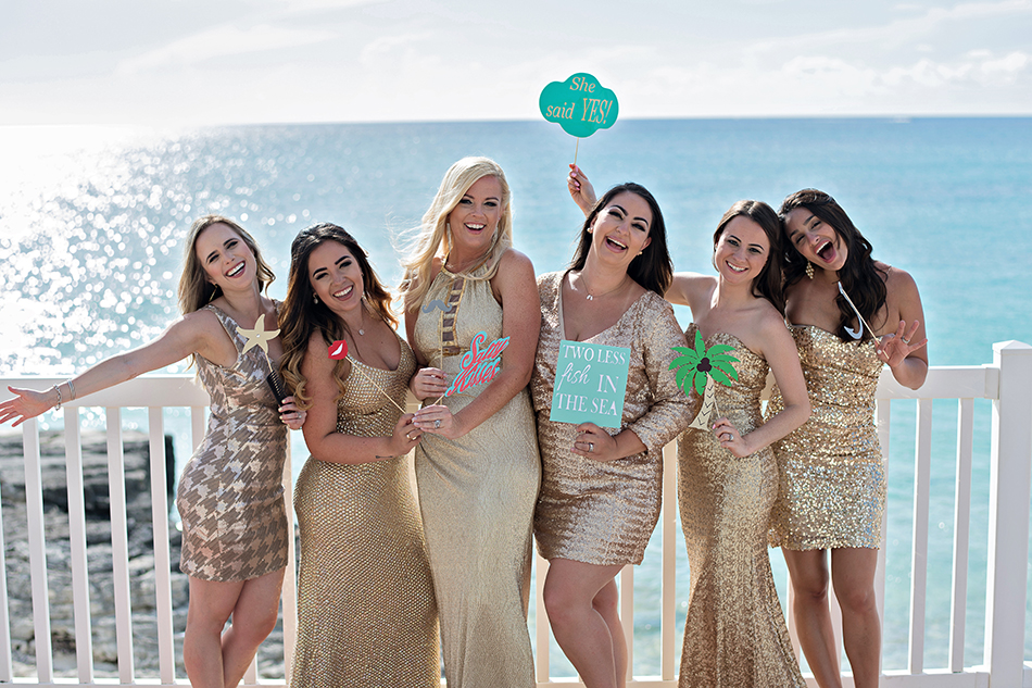 Gold bridesmaids photo in the Bahamas