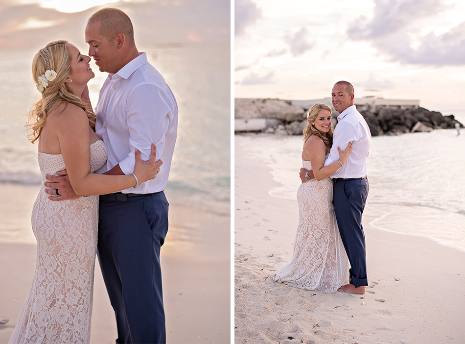 Sunset bride and groom photos - Bimini Bahamas destination wedding
