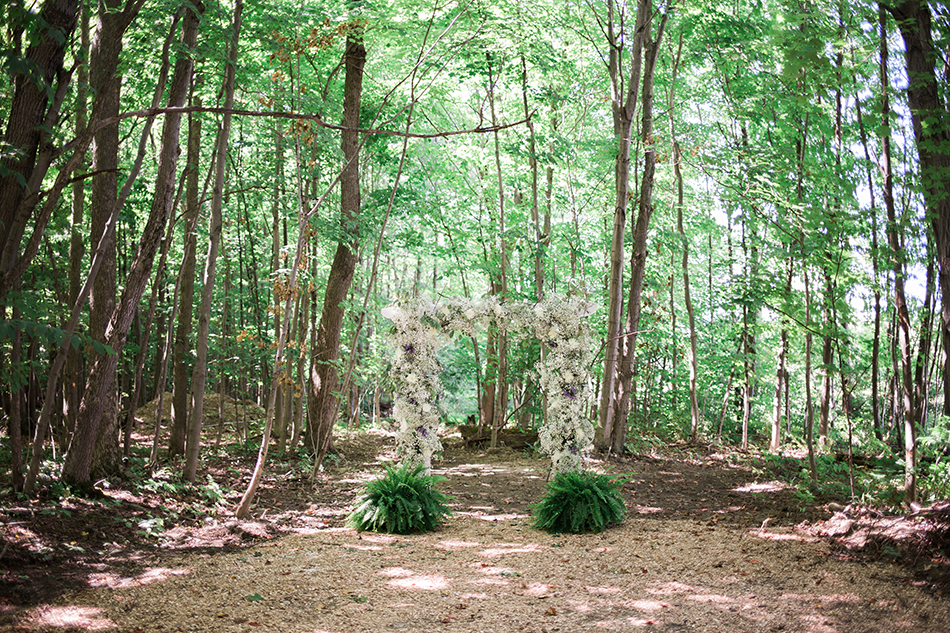 Outdoor ceremony space in the woods