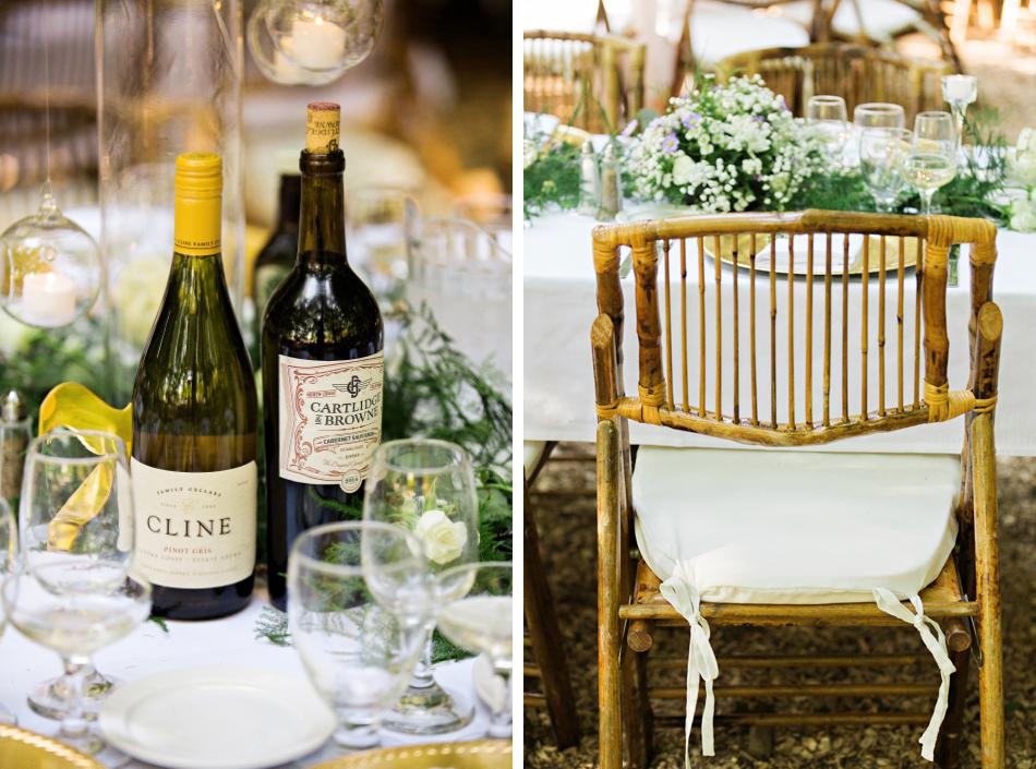 Vineyard wedding reception details
