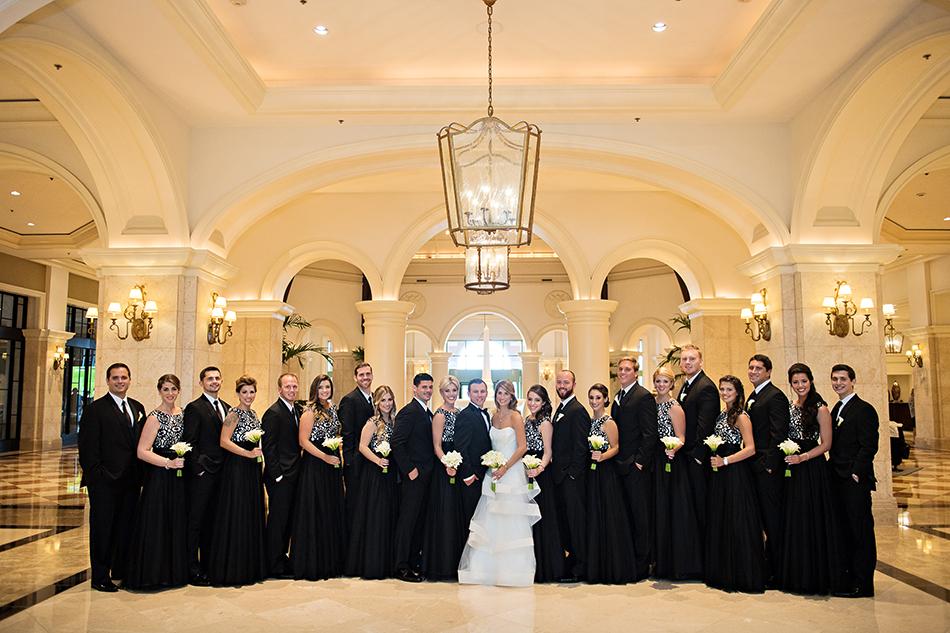 formal bridal party at black tie wedding