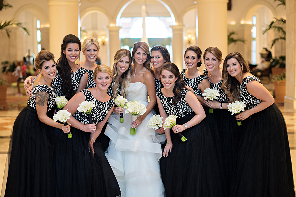 black and white bridesmaids dresses