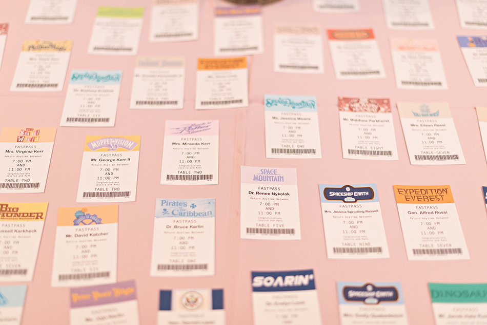 Disney Bride - Escort cards that look like Fastpass