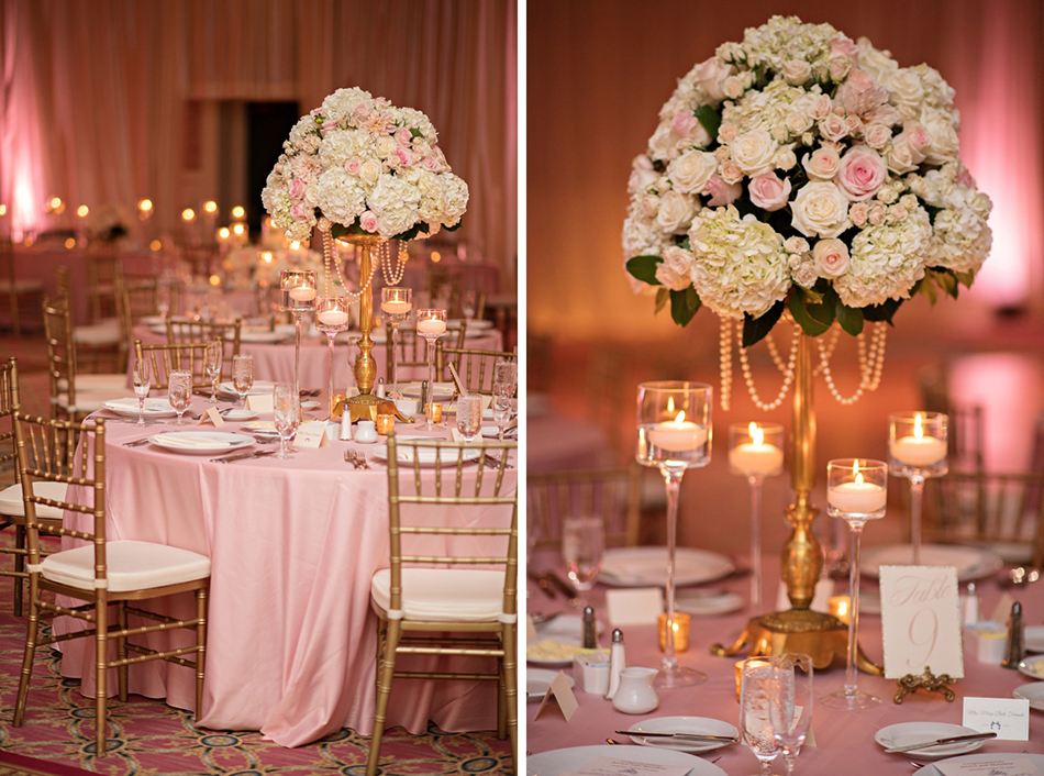 Pink and gold luxury ballroom reception at walt disney world
