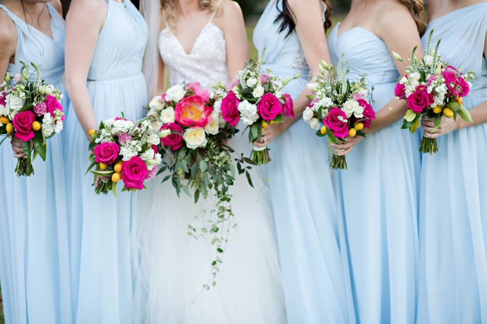 blue bridesmaids dresses and beautiful bouquets