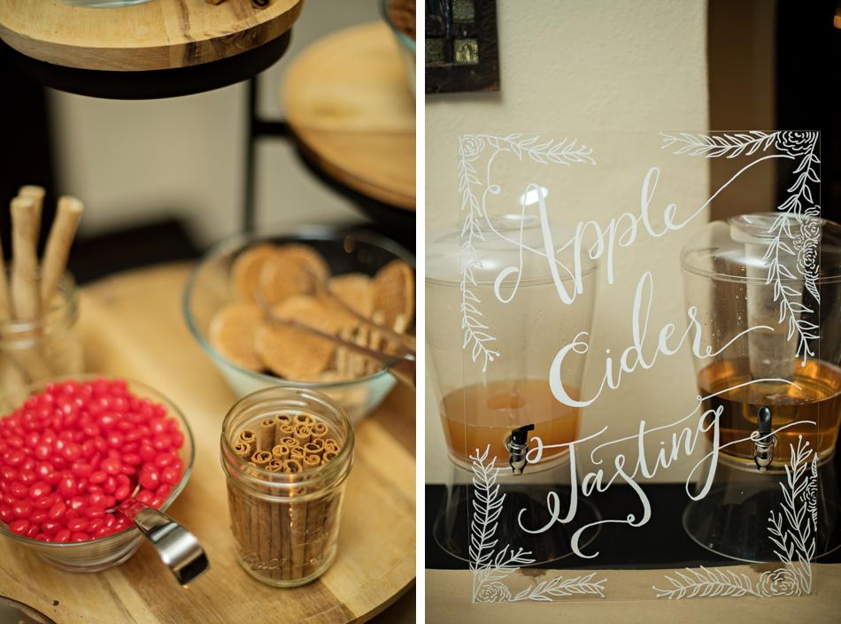 Apple cider tasting at wedding reception
