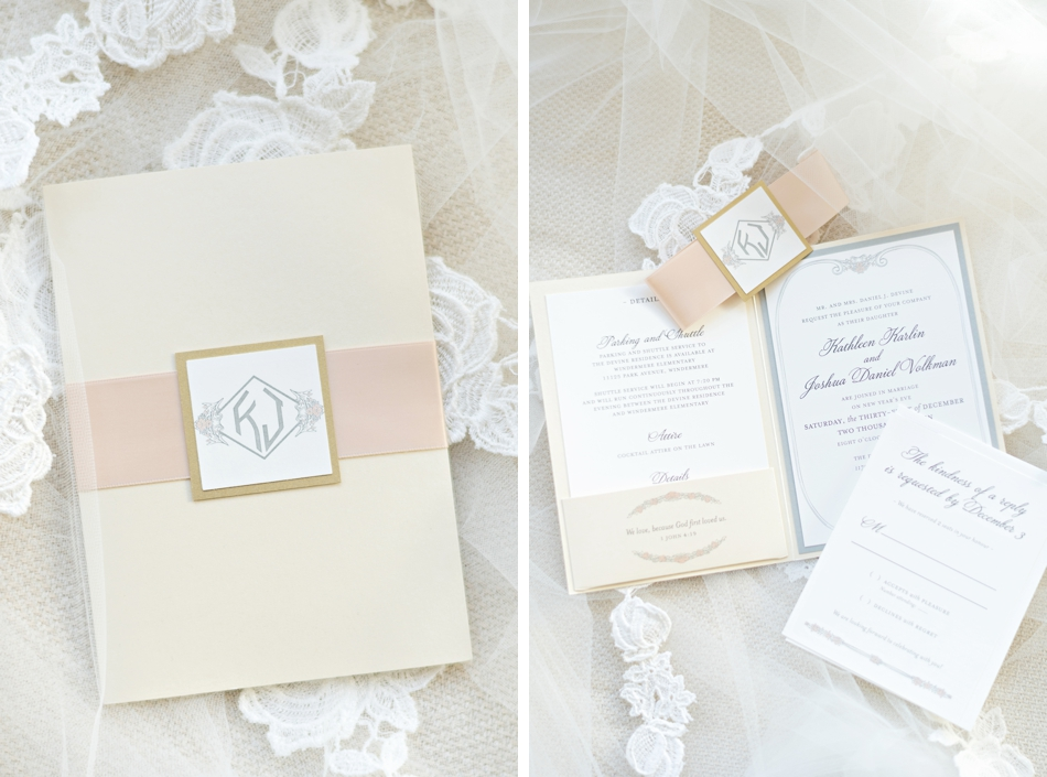 Classic ivory and white wedding stationery