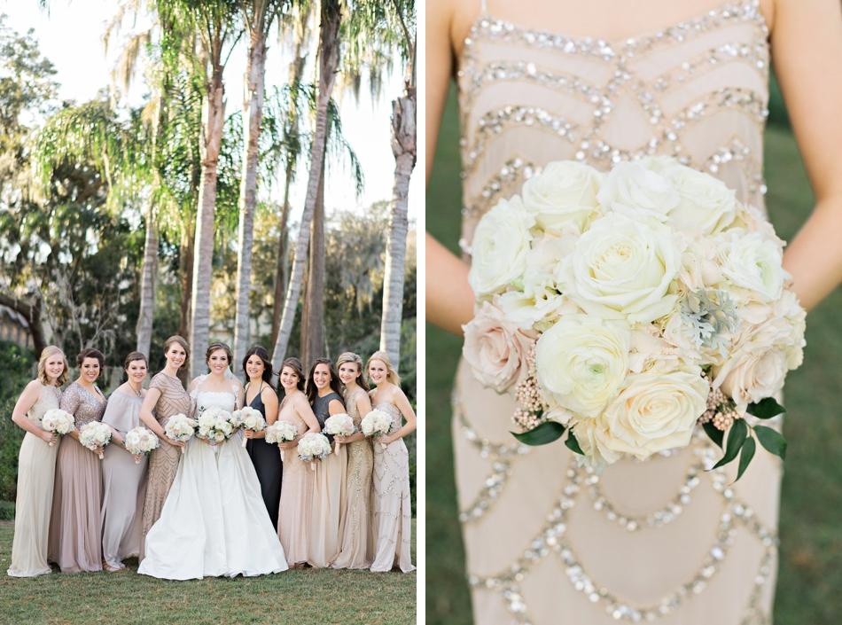 Mix match wedding dresses and white bouquet