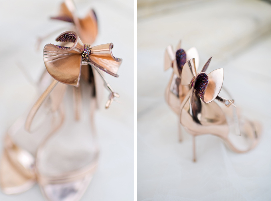 rose gold bridal wedding shoes