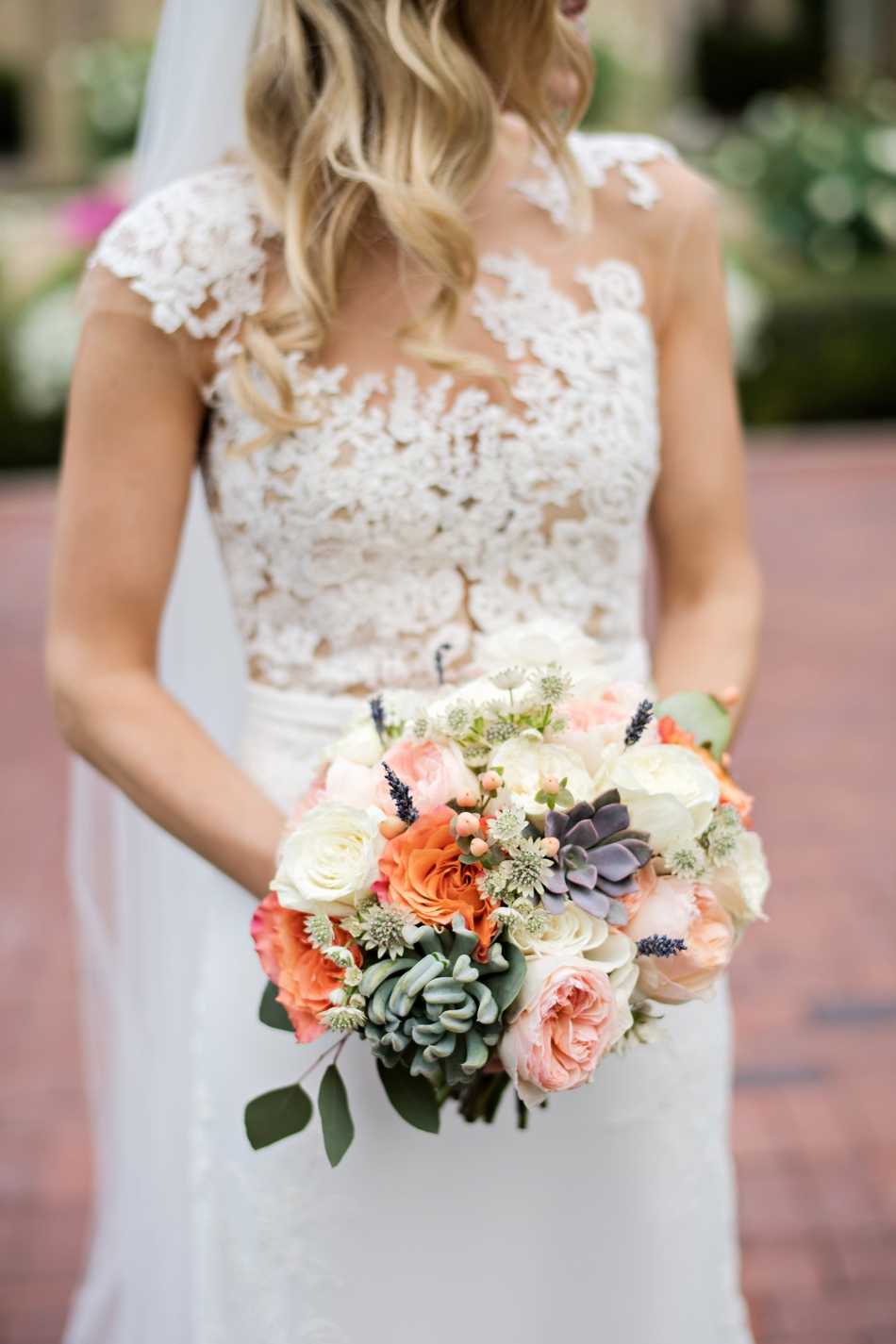 pronovias wedding gown and bouquet