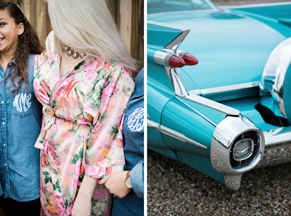 chambray bridesmaids shirts and classic car