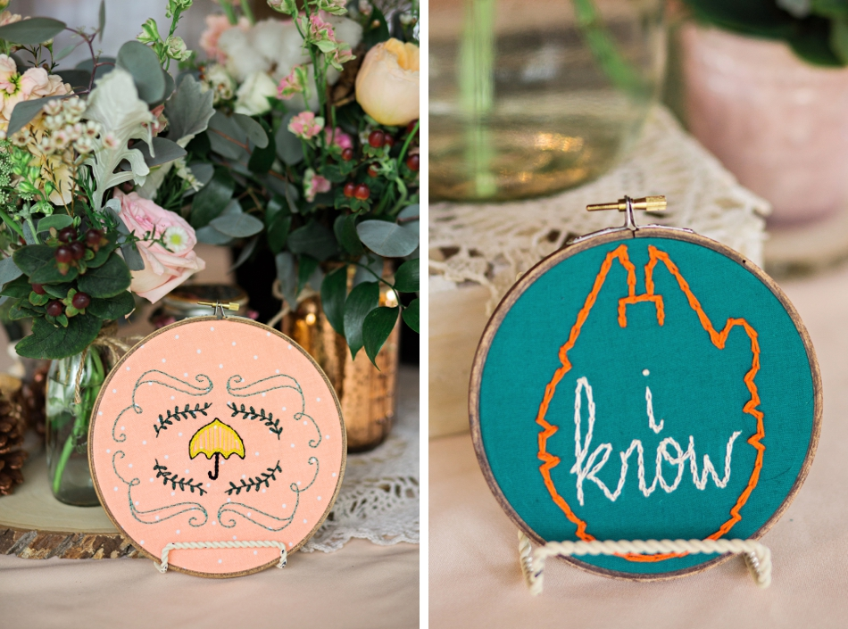 embroidered table decoration