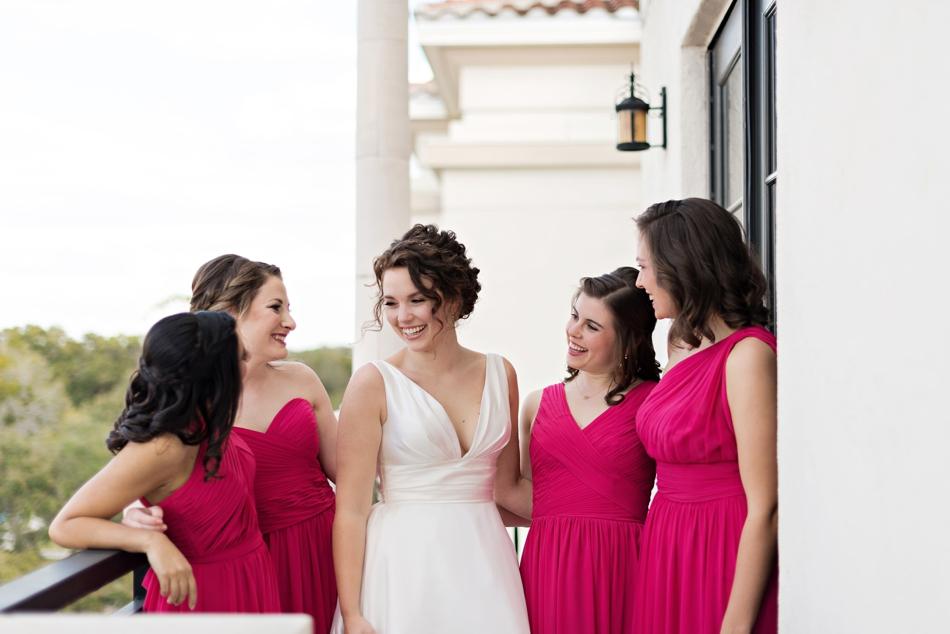 bride and bridesmaids wearing pink