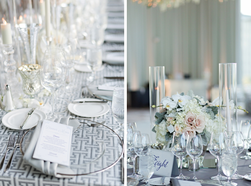 gray and white wedding reception
