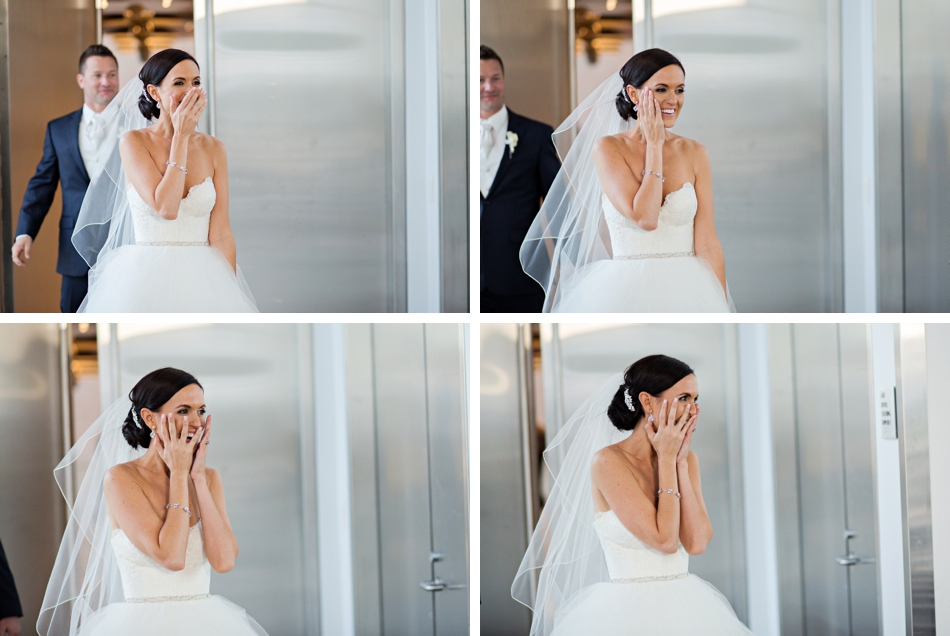 bride sees reception room for first time