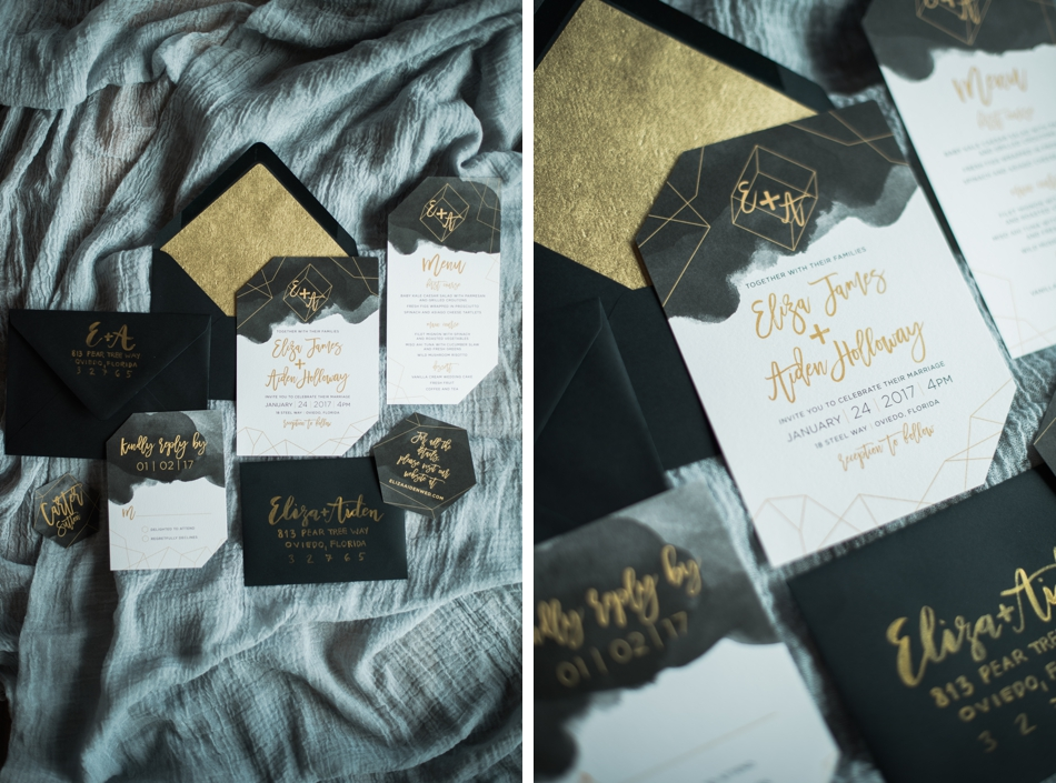 Black and gold stationary