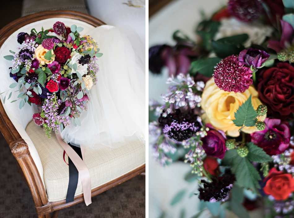 burgundy bouquet with ribbons