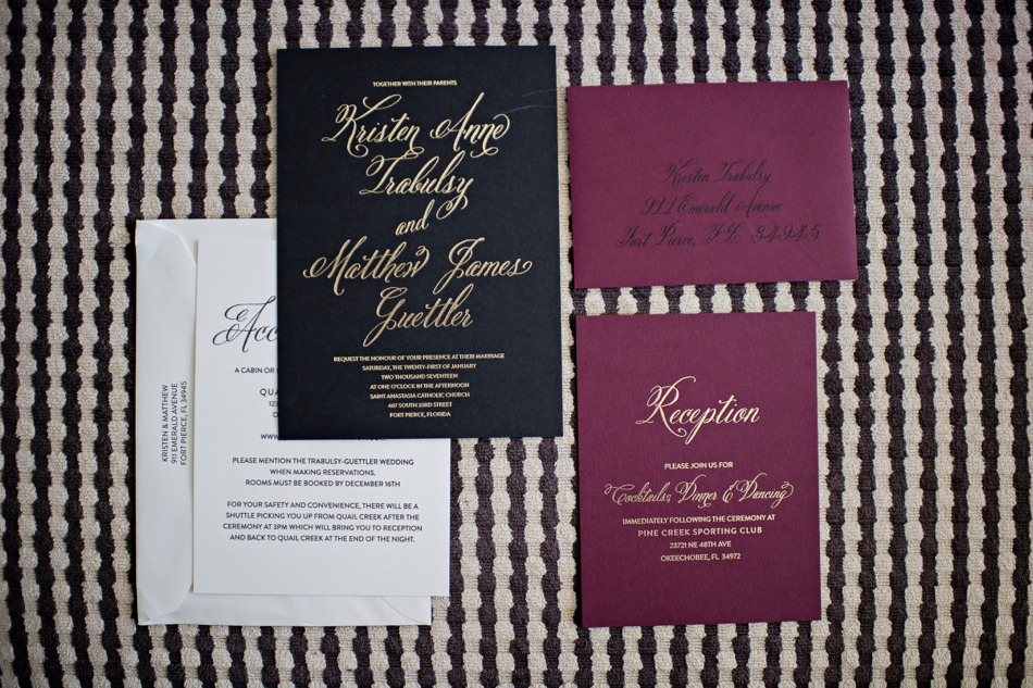 jewel toned, black and gold wedding stationery