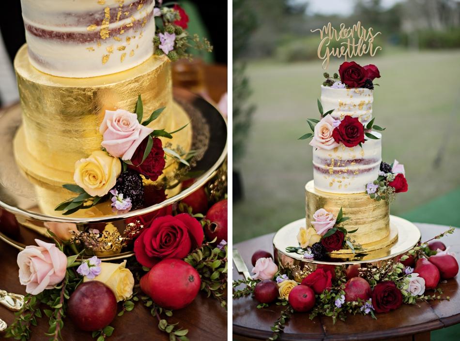 gold naked cake