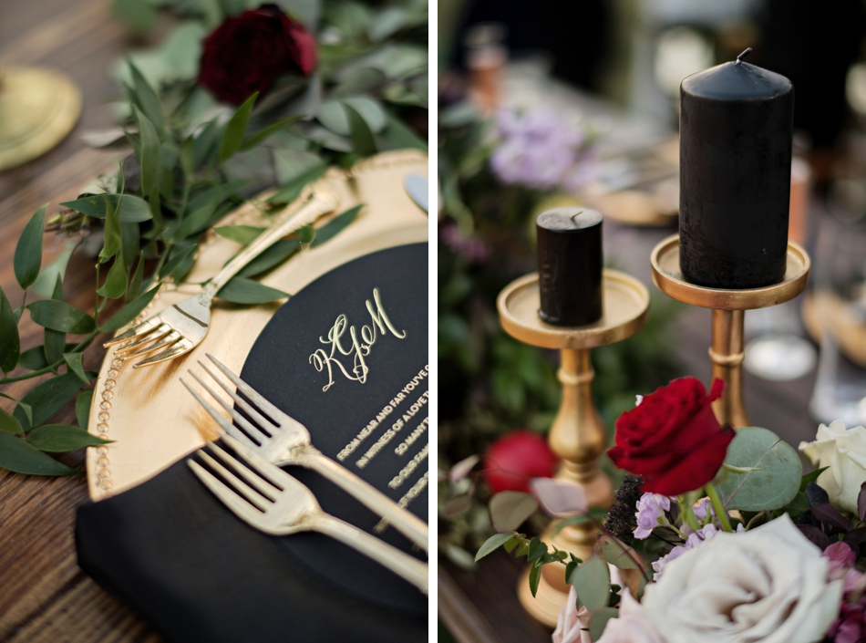 black candles, reception decor