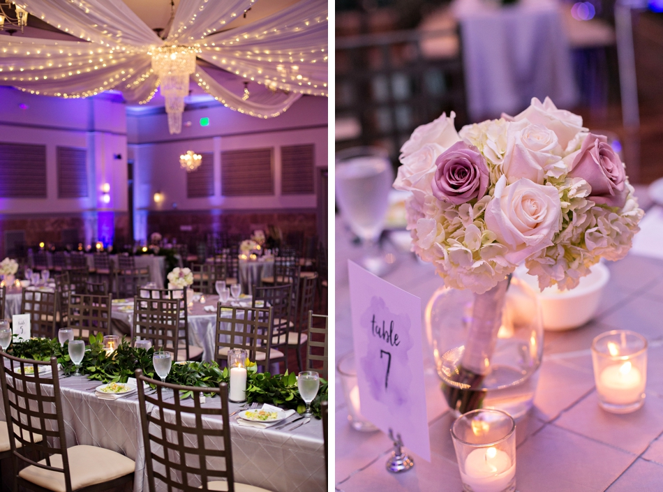 purple reception decor