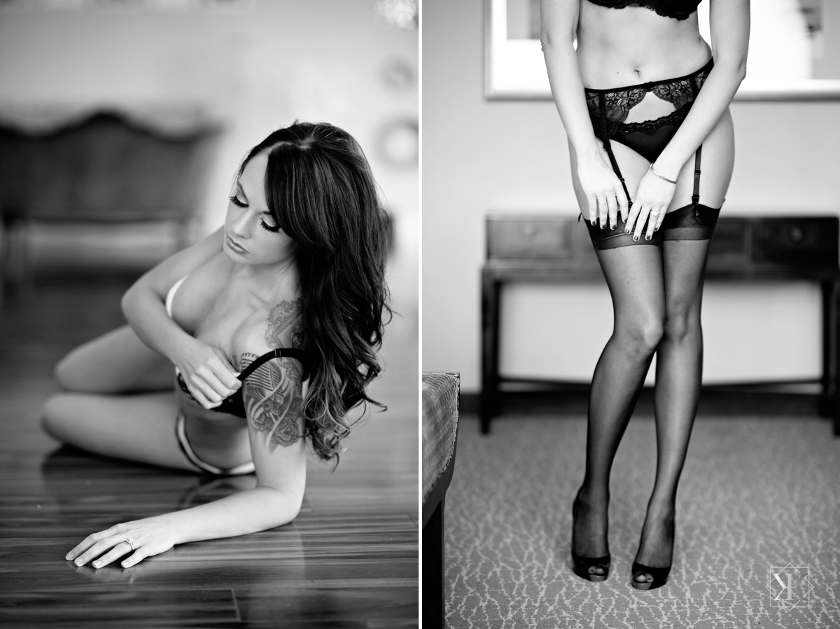black and white boudoir photography