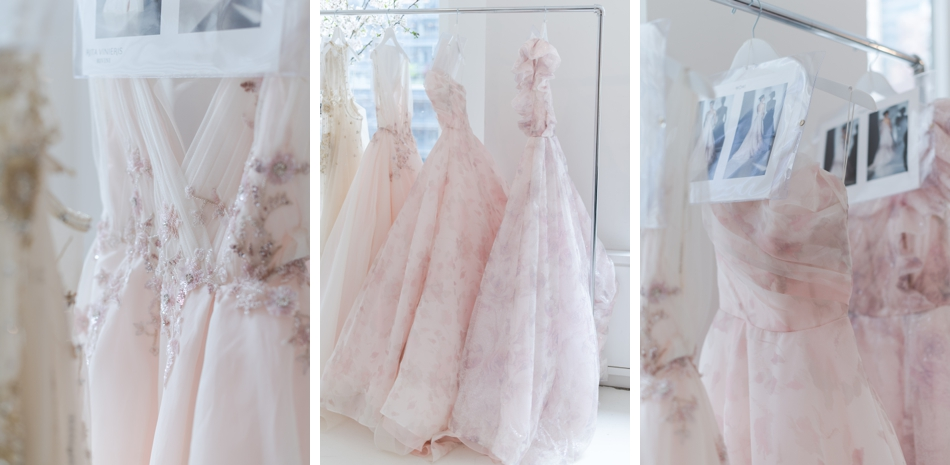 Blush floral wedding dresses