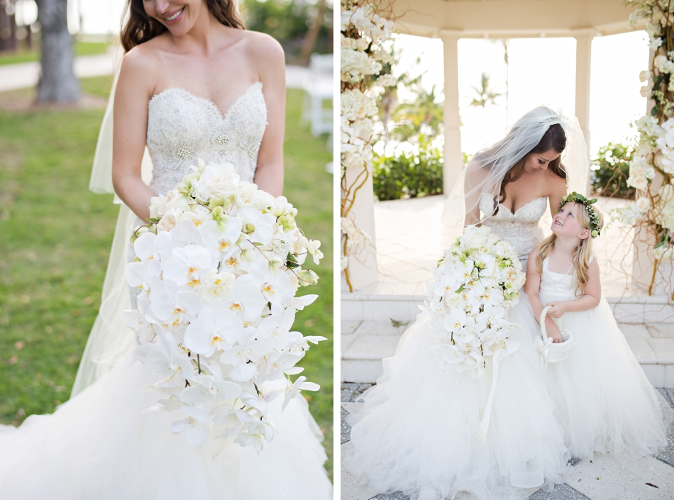 beautiful wedding bouquet of white orchids