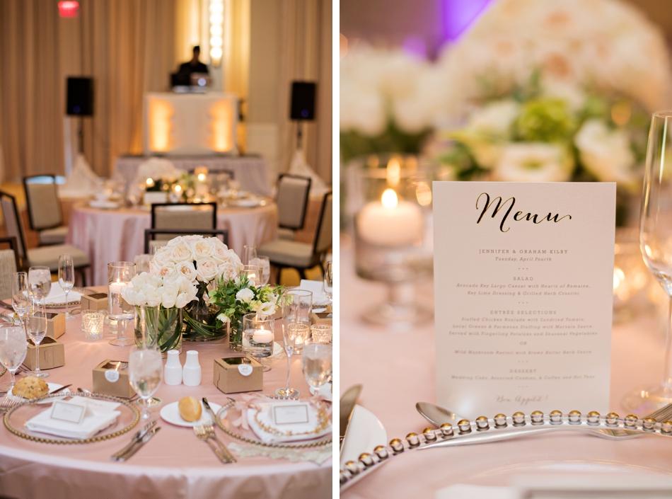 rose gold wedding menu