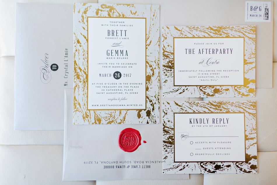 metallic marble wedding invitation suite