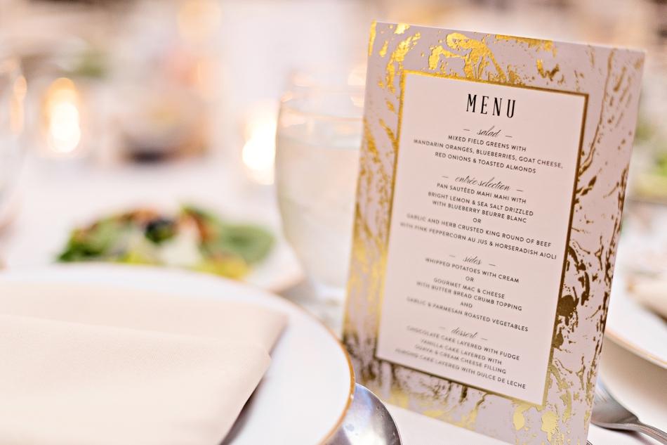 gold marble wedding menu