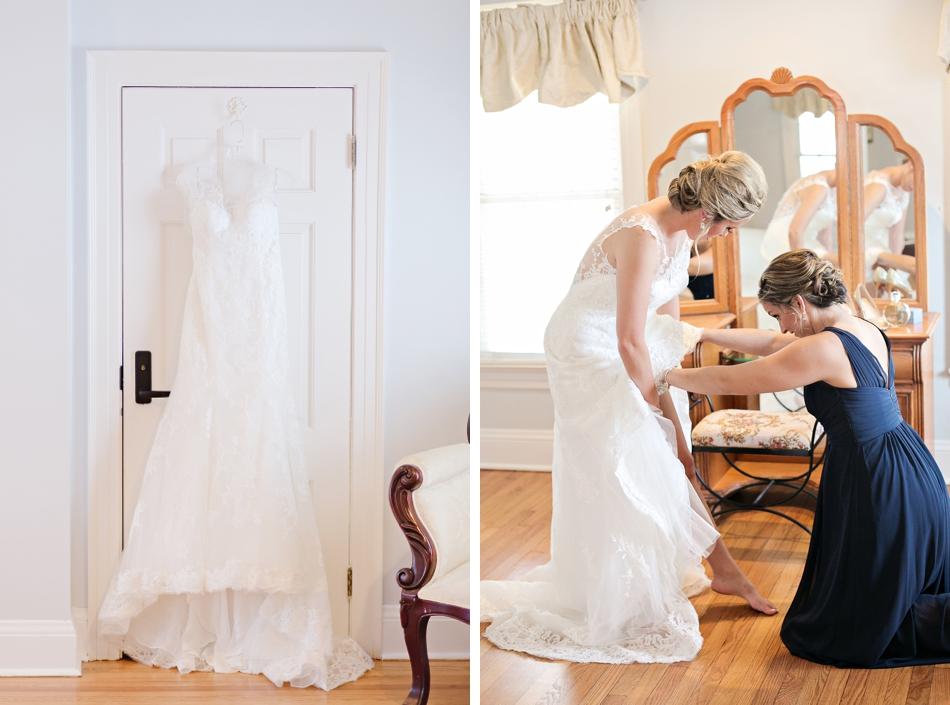 Wedding dress hanging in room