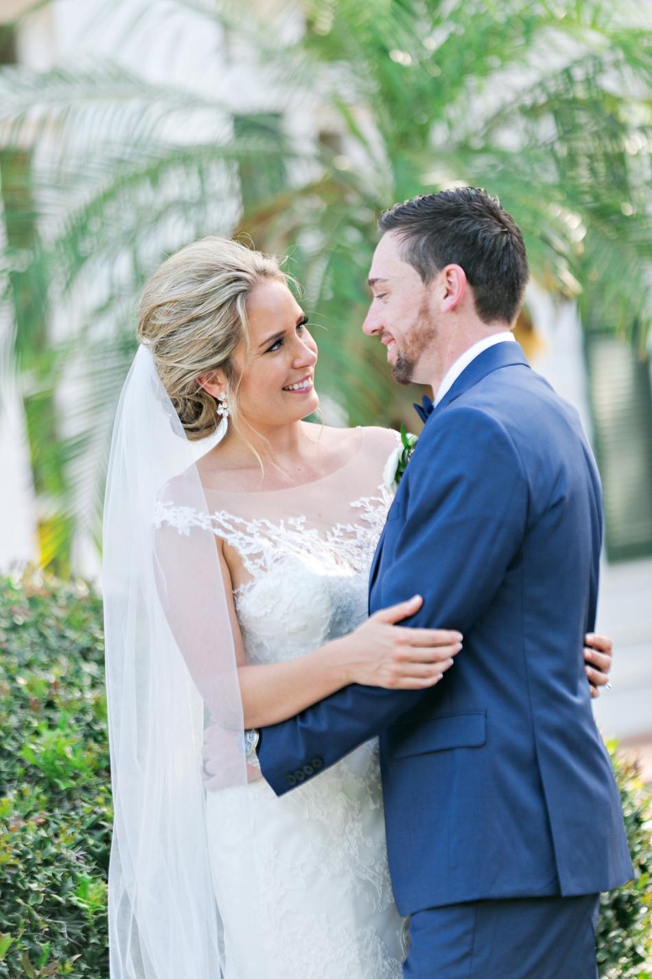 Gorgeous bride looking at groom