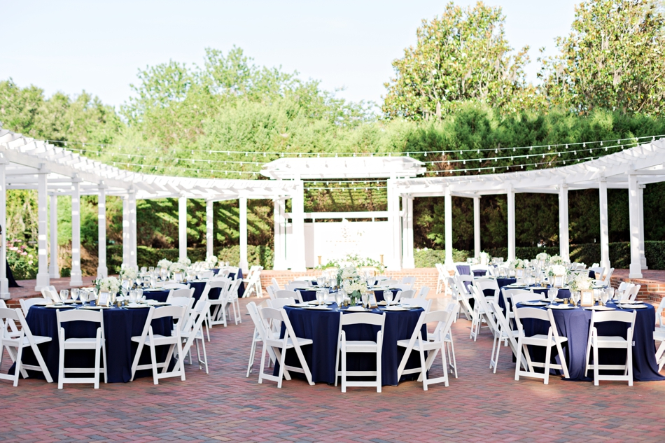 Blue table cloths for reception