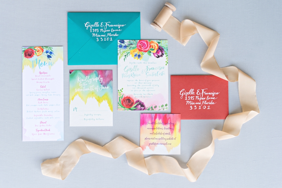 bright tropical stationery invitations