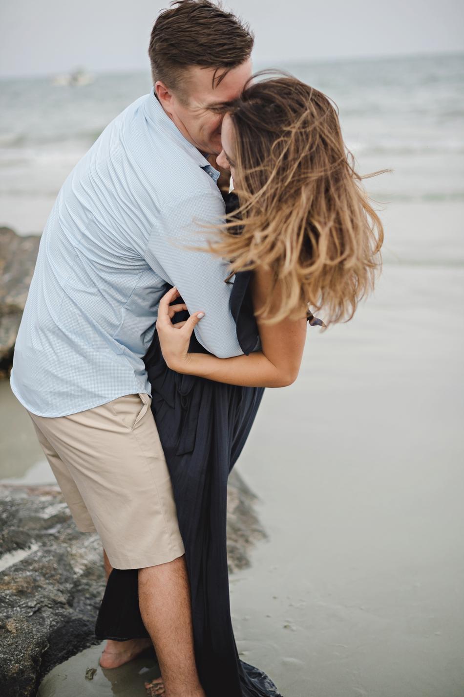 romantic windy engagement pictures