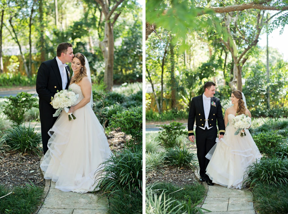 Bride and groom walking in greenery