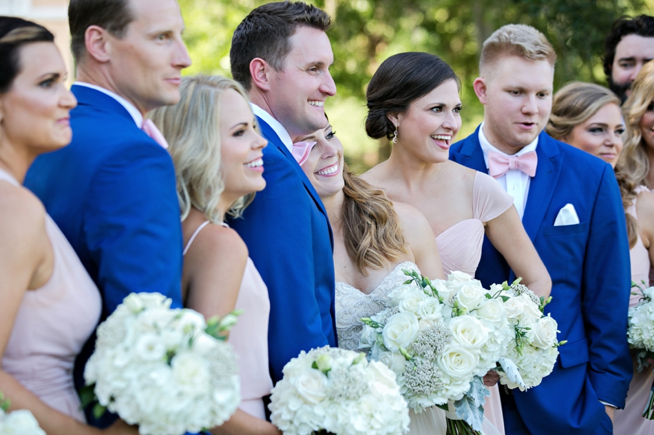 Bridal party in blue and blush