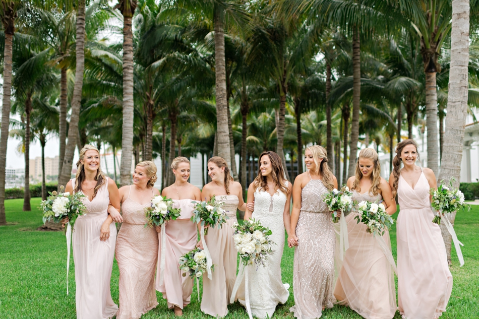 bridesmaids wearing blush