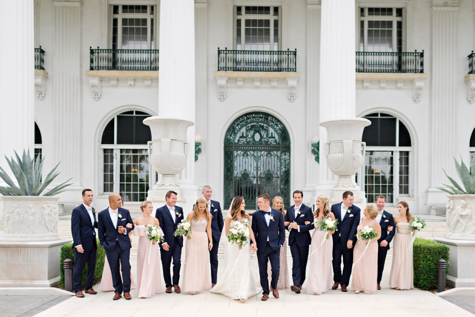 pink and navy blue wedding party