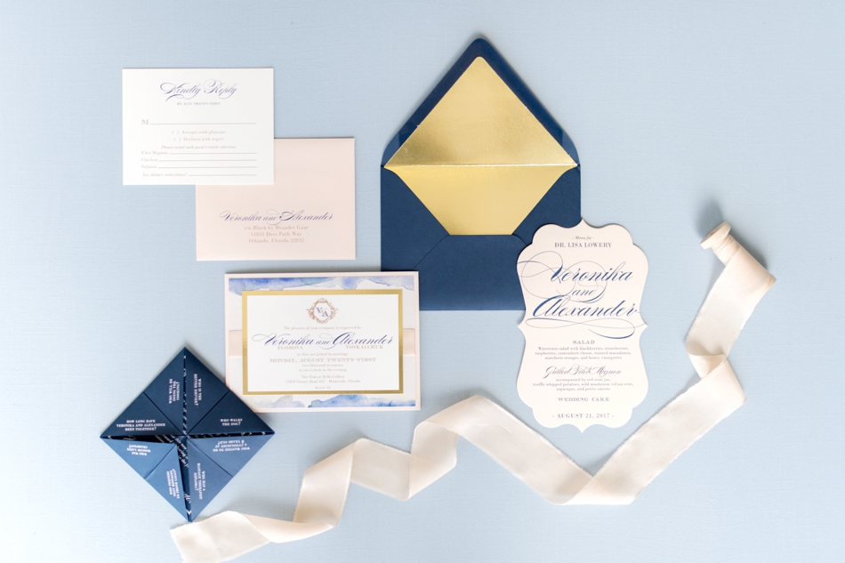 elegant blue wedding stationery
