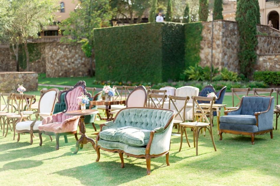 vintage furniture wedding ceremony