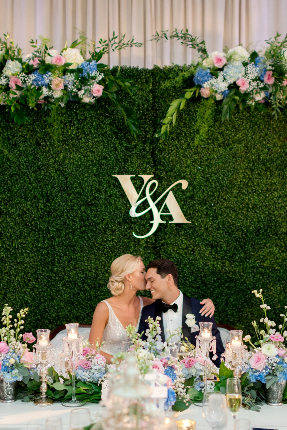 monogram hedge wall reception