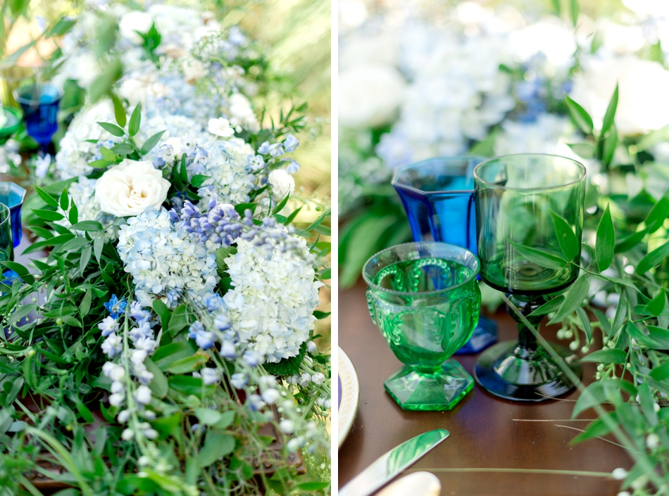 vintage glassware blue and green